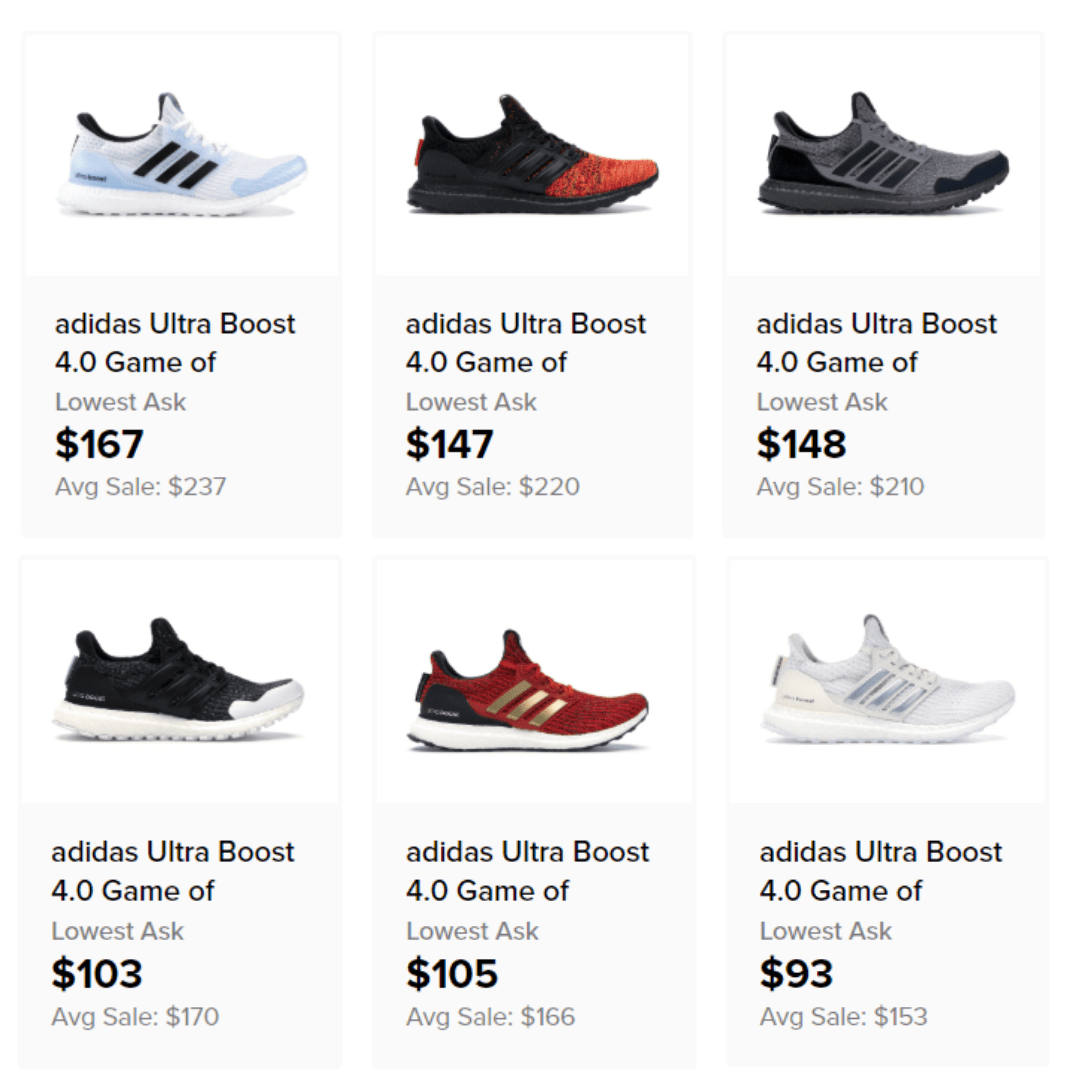 Adidas Game of Thrones Resale 2019