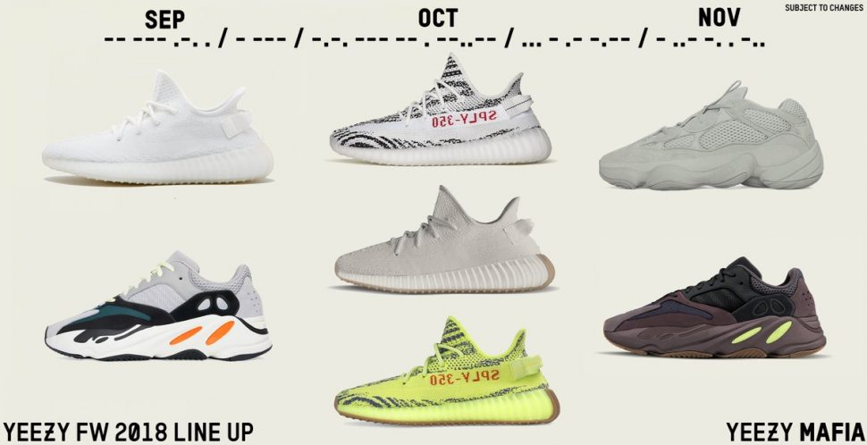 Adidas Yeezy Fall 2018 Lineup