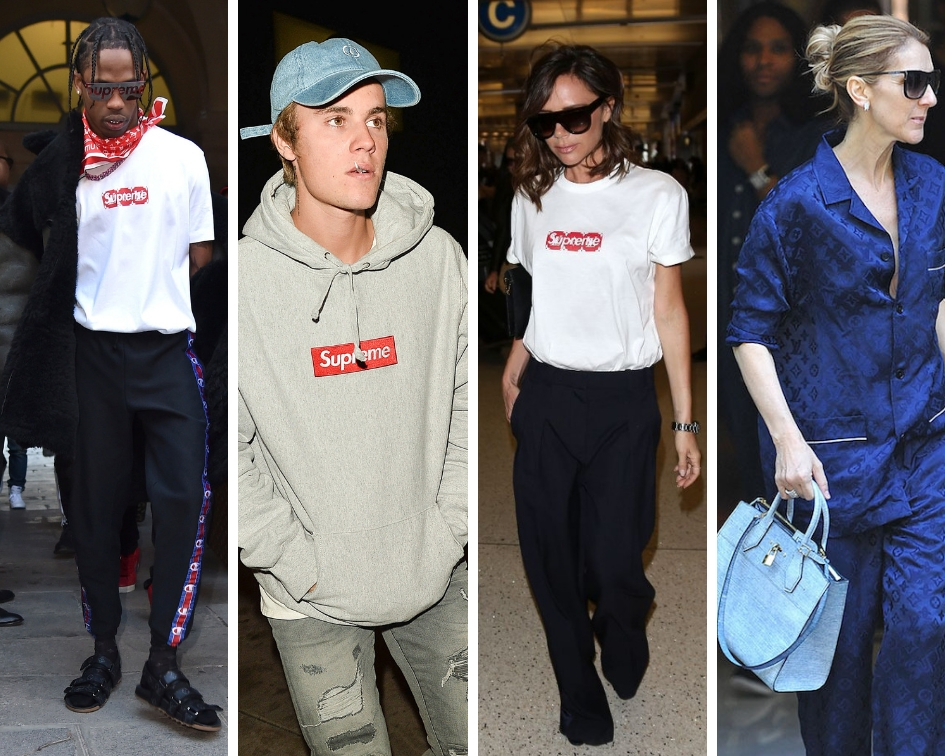 celebs wearing supreme