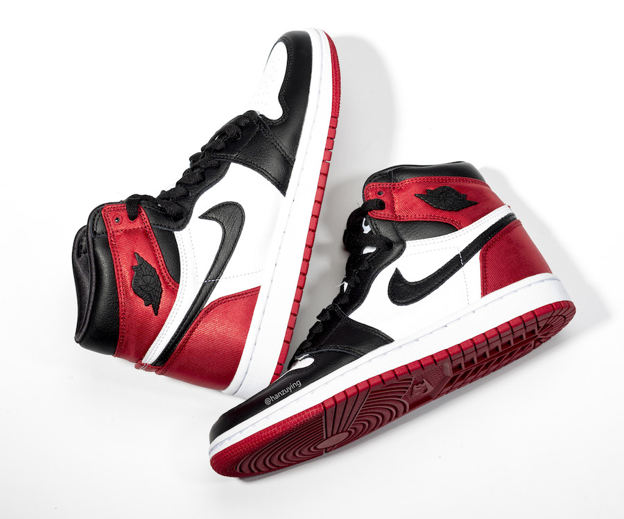 womens Air Jordan 1 black toe satin 3