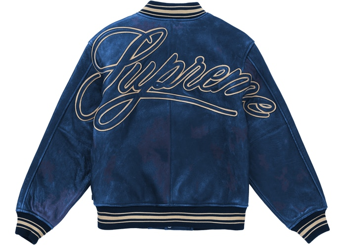 Supreme Worn Leather Varsity Jacket Blue