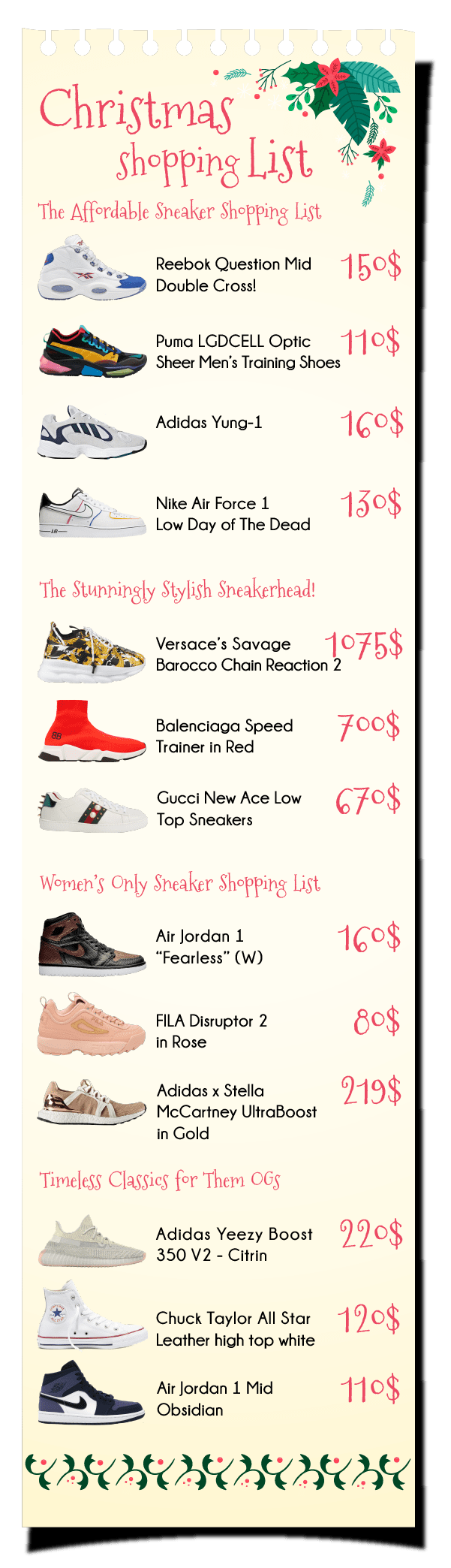 Holiday Sneaker shopping list
