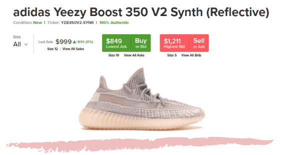 Adidas Yeezy sneakers Synth resale