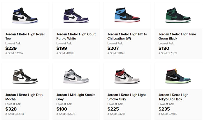 Jordan 1 colorways total sold 2020