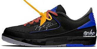 Off-White x Air Jordan 2 Low Black Blue